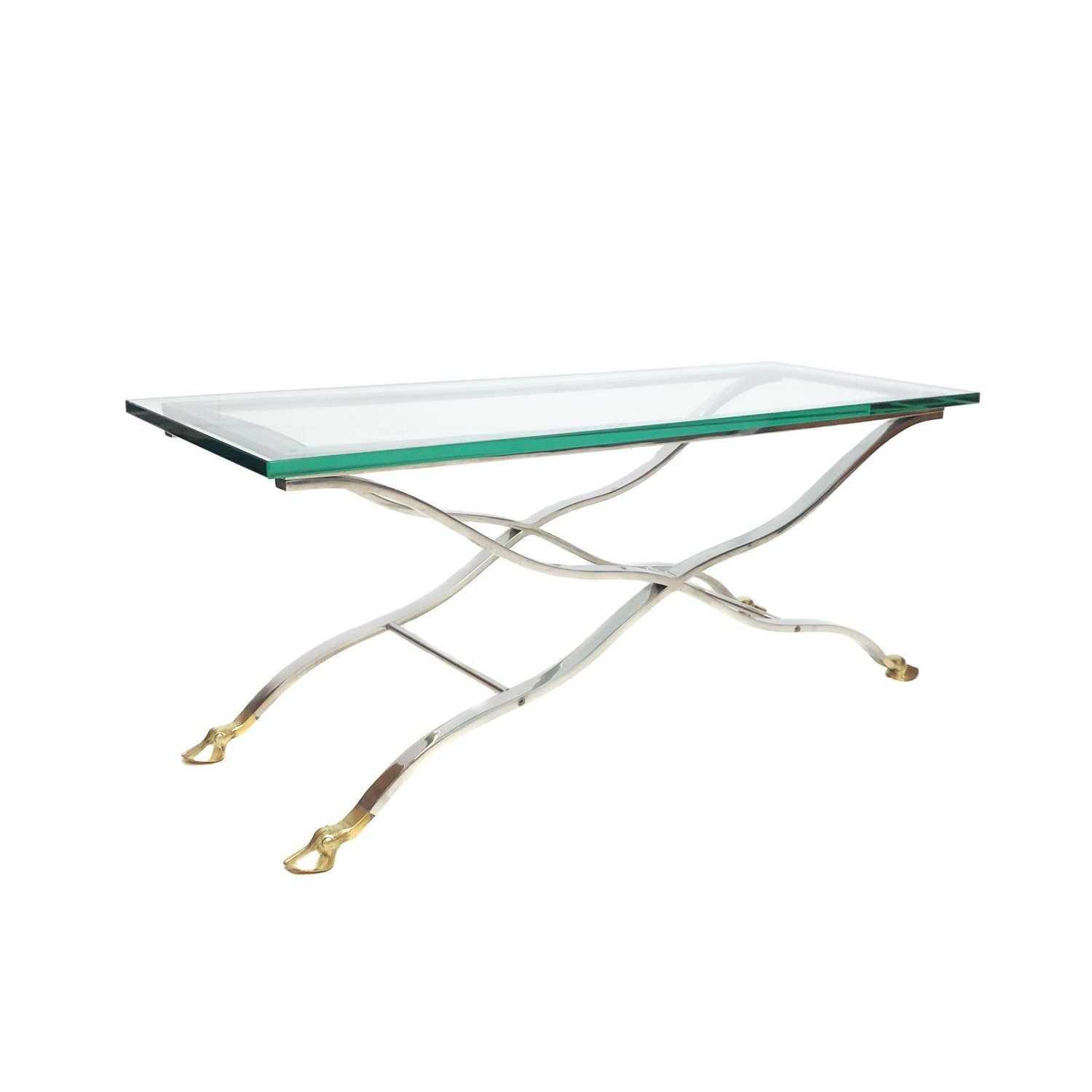 Mid Century Modern Chrome Glass Console Coffee Table With Brass Hoof Feet