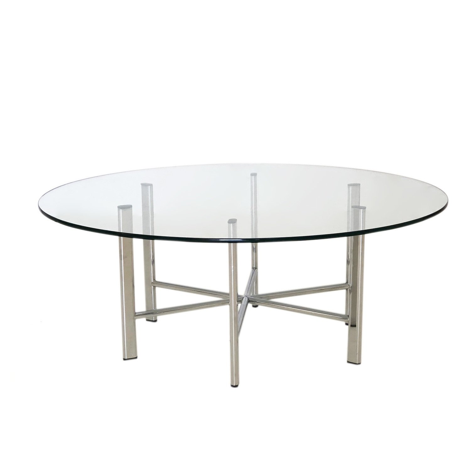 Mid Century Modern Hexagon Chrome And Glass Coffee Table