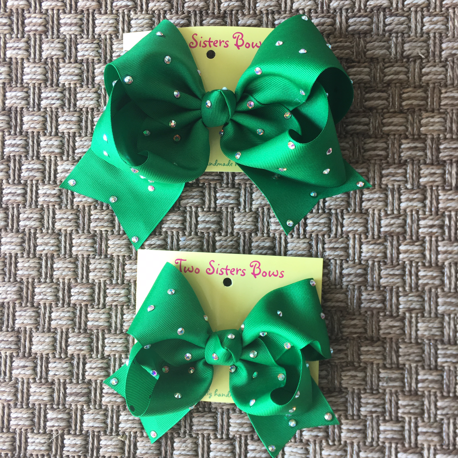 Green Bow with Swarovski Crystals  X - Large