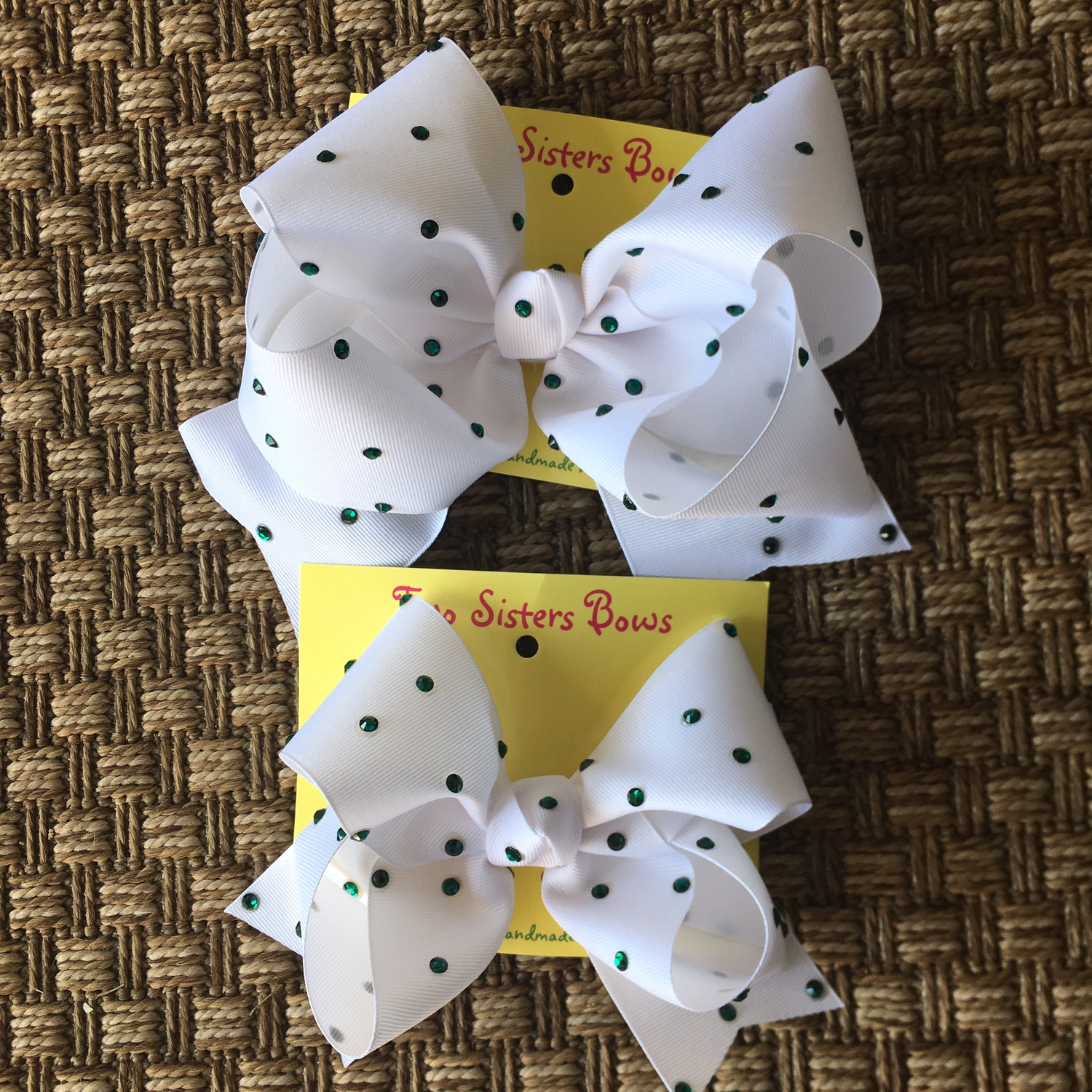 White Bow with Green Swarovski Crystals  X - Large