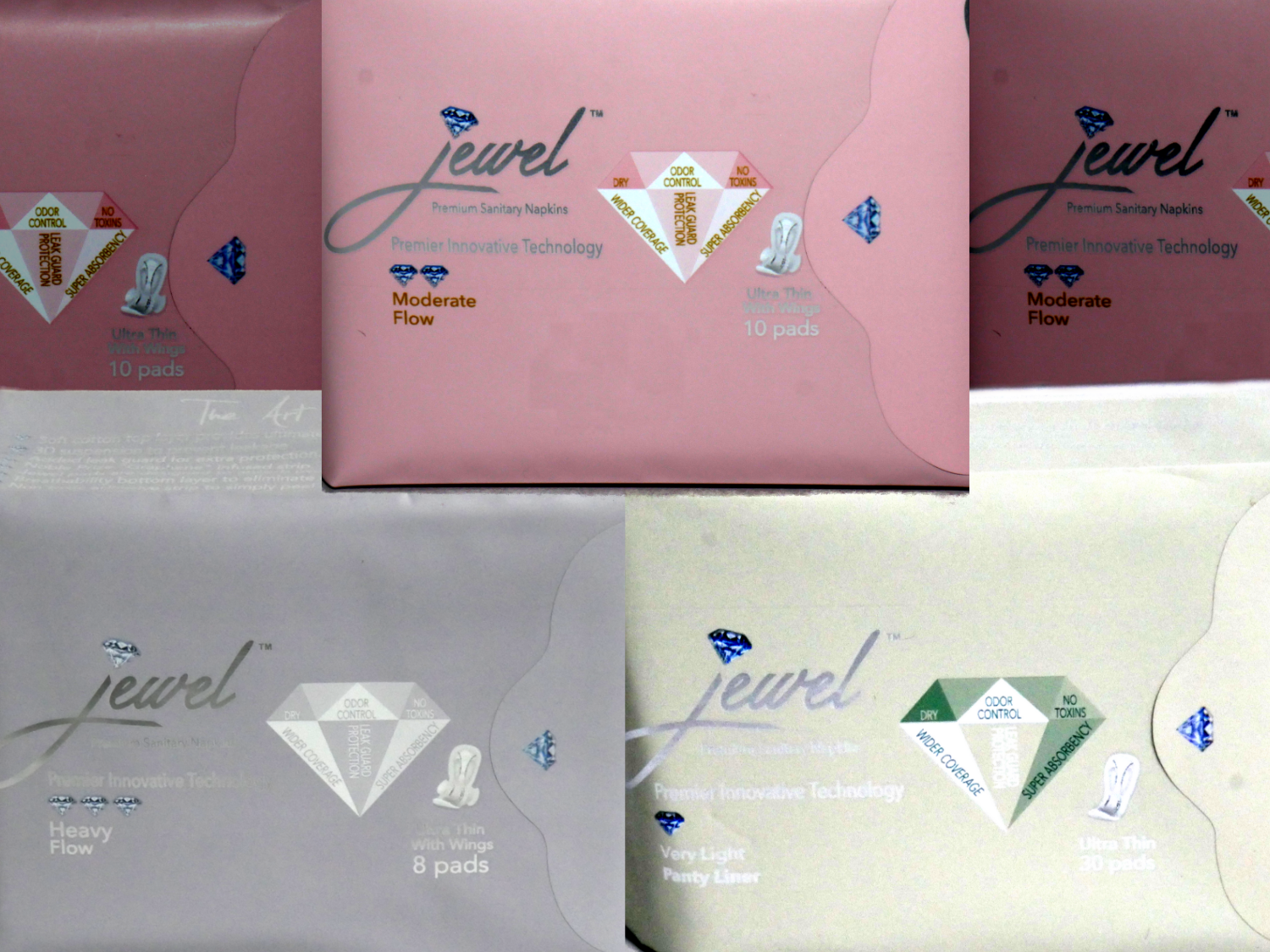 ​JEWEL PADS: TRIO PACK 3 PACKS: 1 PACK OF PANTY LINERS, 1 DAY PACK, 1 NIGHT PACK
