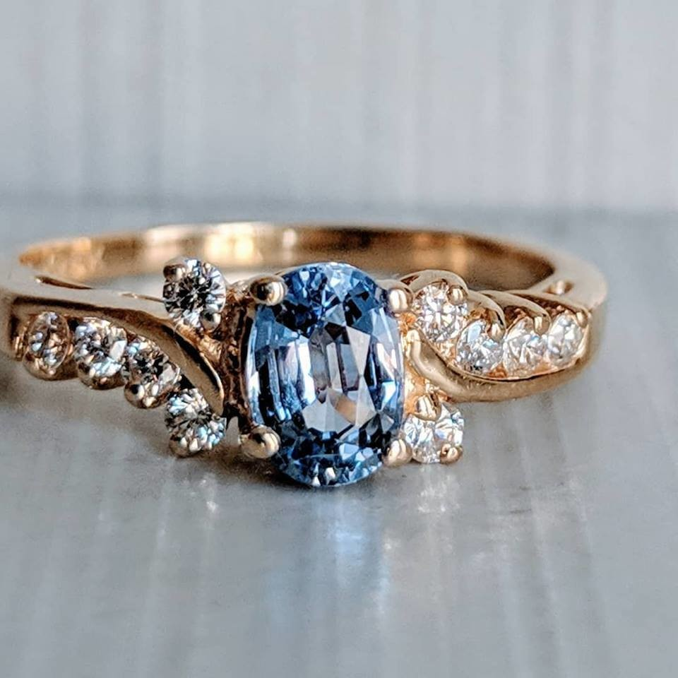 Natural Sky Blue Sapphire and Diamond Ring from Shane Co in 14k Yellow Gold