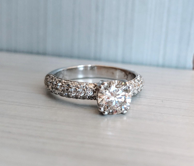 18k Micropavé Diamond Engagement Ring 1 1/2 carats