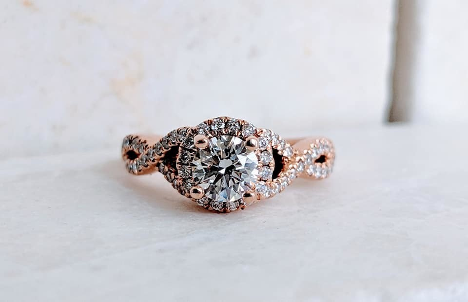 0.86 Carat TW Gabriel and Co Designer Diamond Ring 14k Rose Gold Sz 5