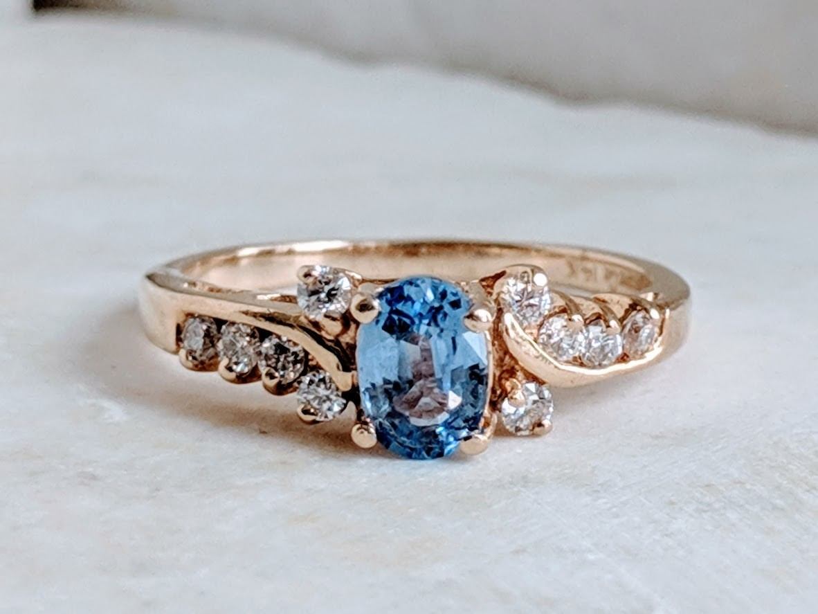 Natural Sky Blue Sapphire and Diamond Ring in 14k Yellow Gold