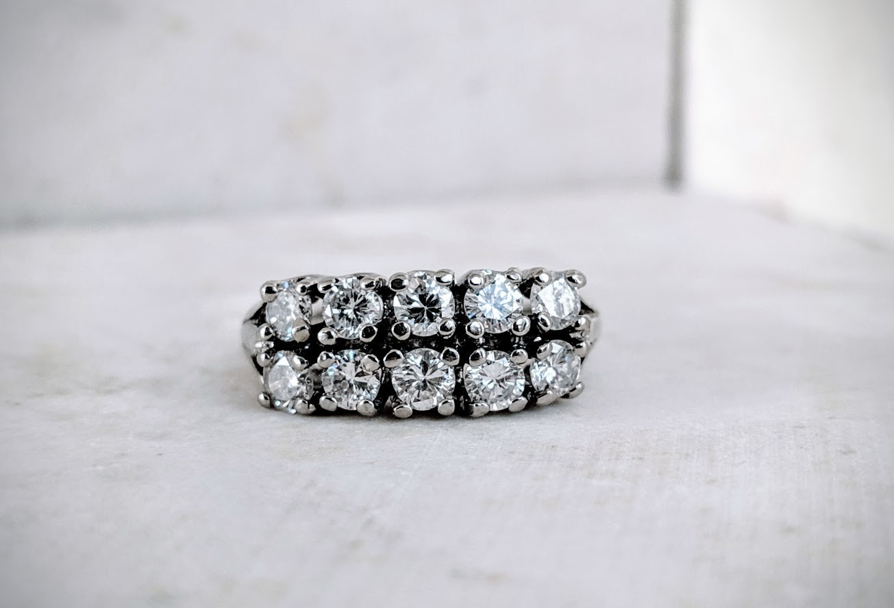Double Row Authentic Vintage Diamond Band