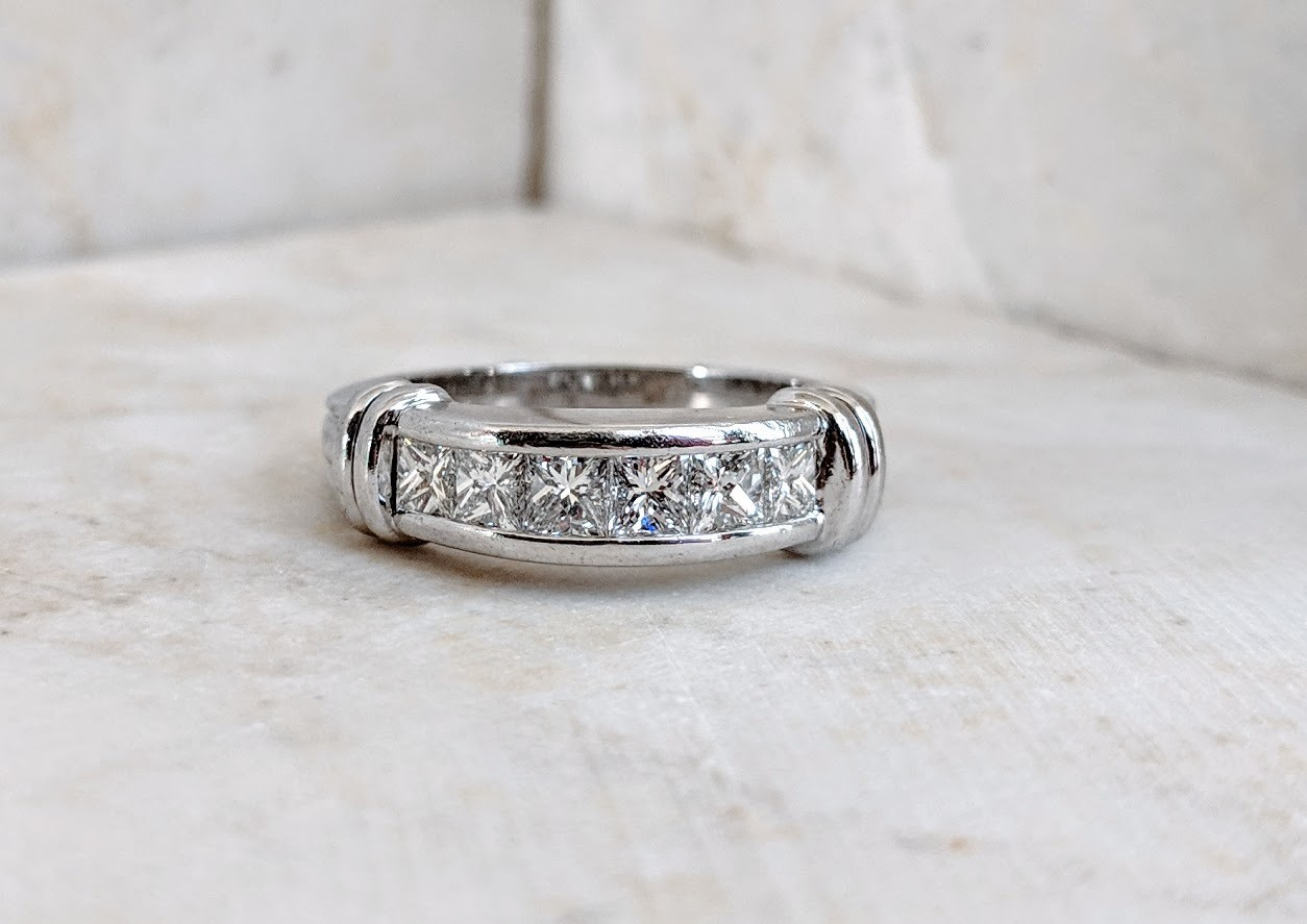1 Carat VS1, G/H Platinum Diamond Wedding Anniversary Band Scott Kay Size 8