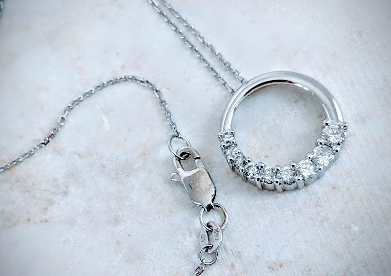0.65 Ct Diamond Journey Circle Pendant in 14k White Gold