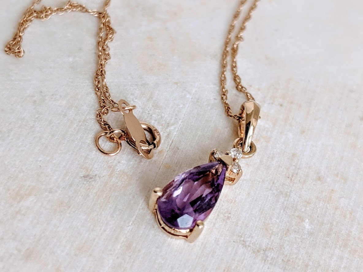 Natural Amethyst and Diamond Pendant Necklace in 14k Yellow Gold