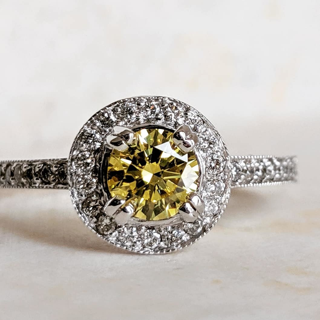 0.50 Ct Vibrant Yellow Diamond in 14k White Gold Halo