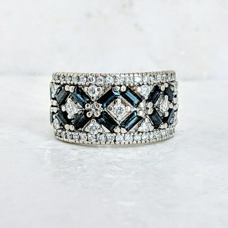 1.5 cttw Sapphire and Diamond Band, 14K White Gold Sz 7