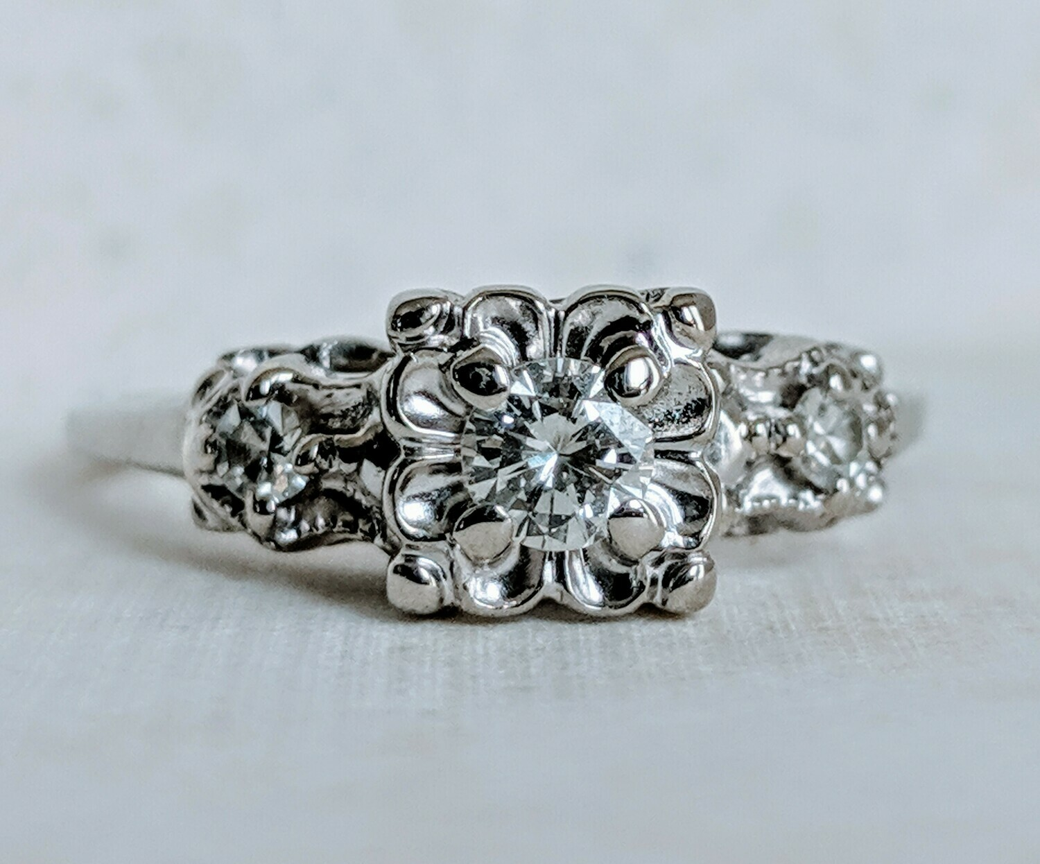 Authentic Vintage 1950s Diamond Ring in 14k White Gold