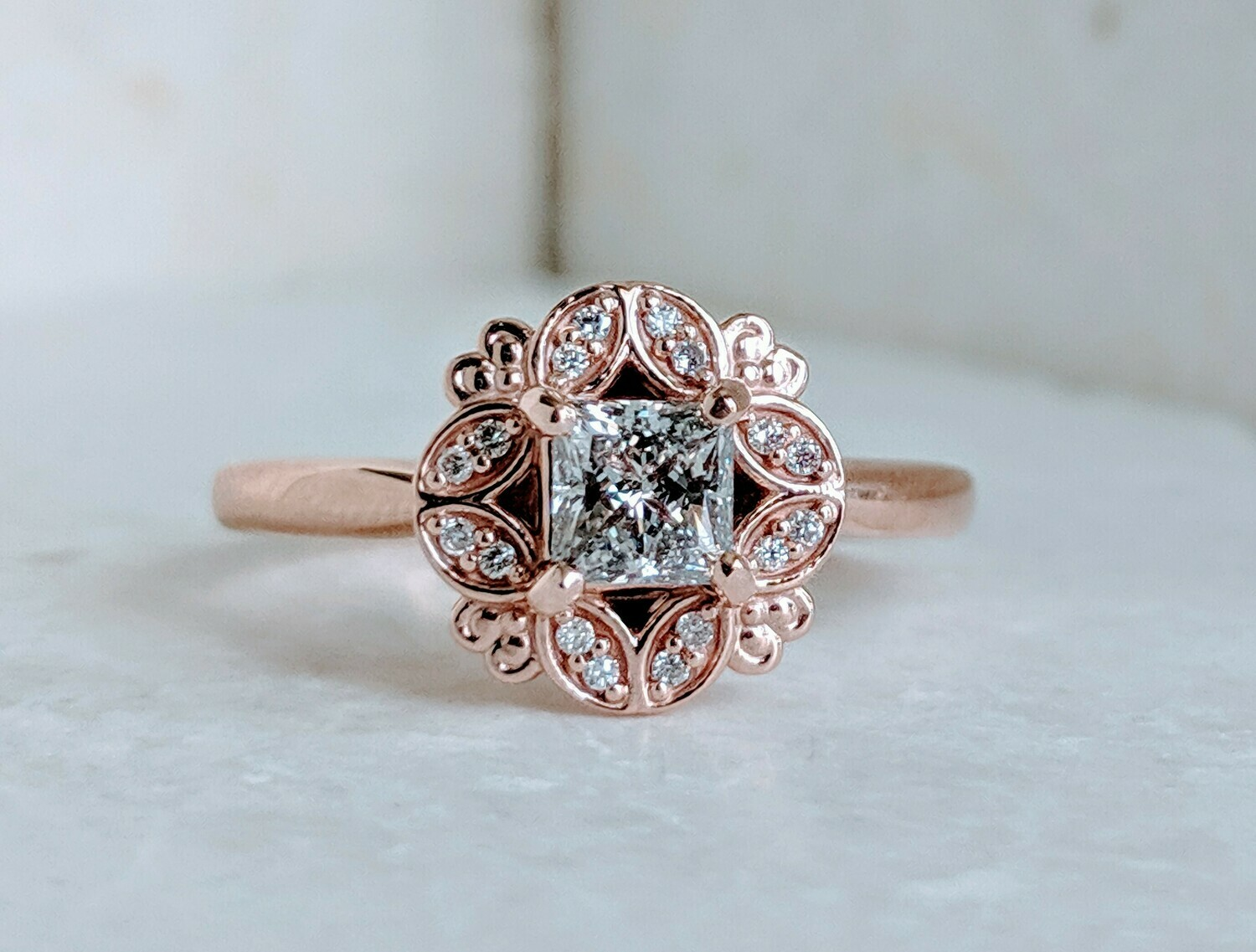 1/2 Ct CVD Princess Cut in Floral Rose Gold Ring