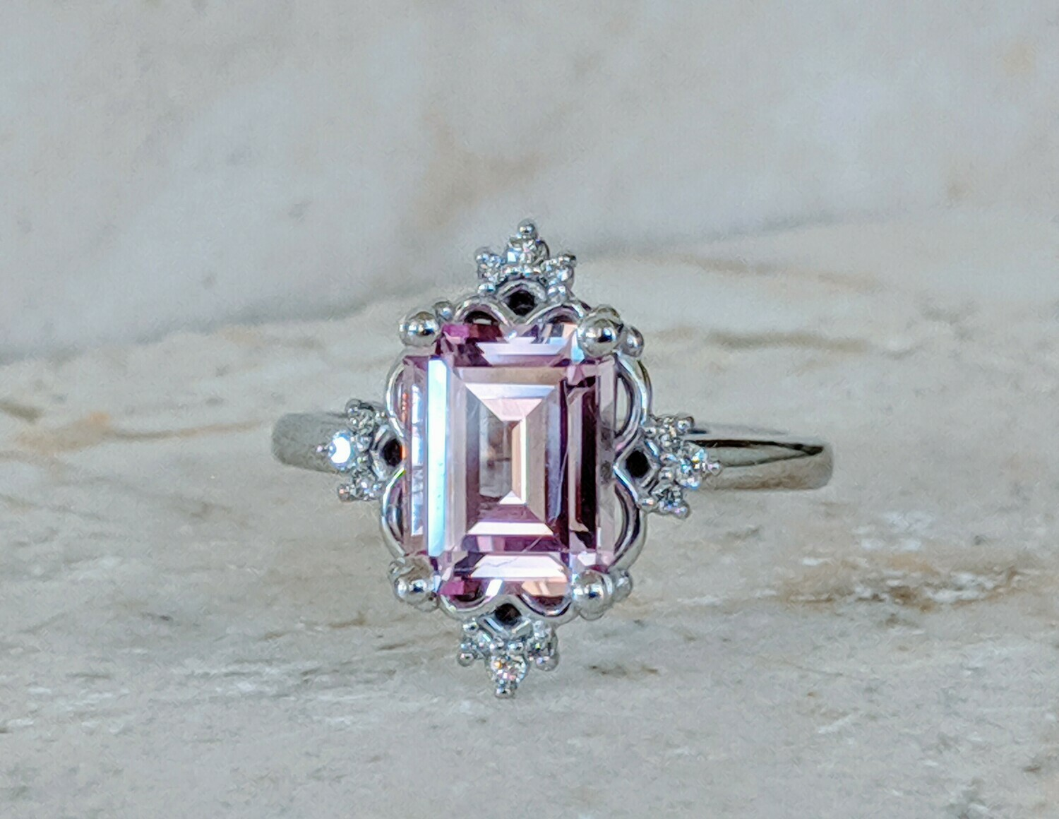 9x7 mm (2.5 ct) Lab Pink Sapphire with CVD diamonds in White Gold