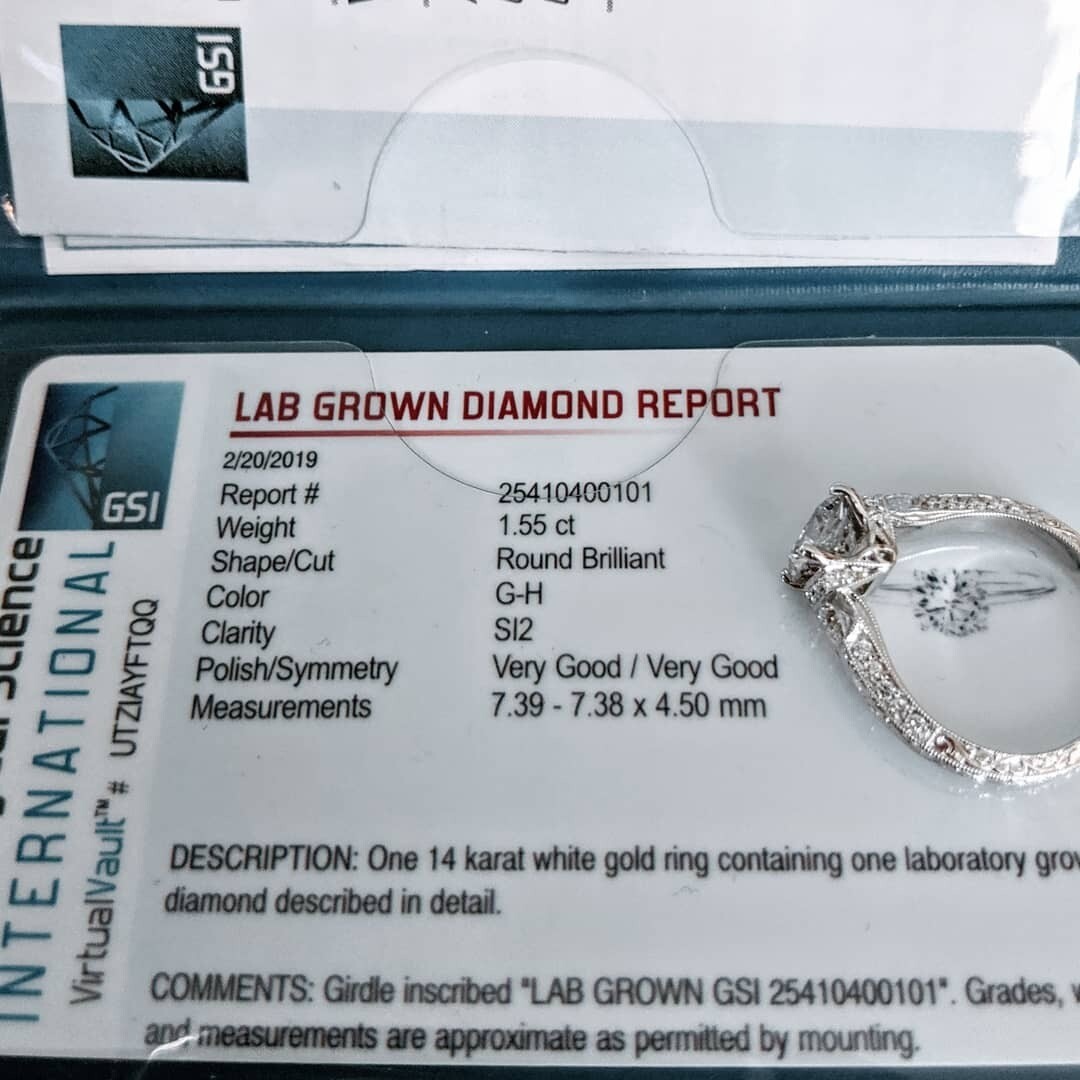 2.11 ct tw (1.55 ct SI2, G/H CVD Diamond Center) Designer Engagement Ring by Daviani Sz 6.5