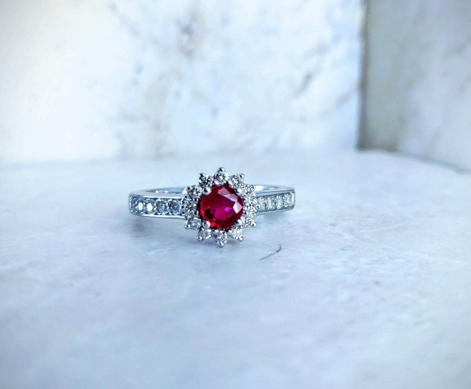 Natural Diamond and Ruby Ring, 0.83 Total Gem Weight