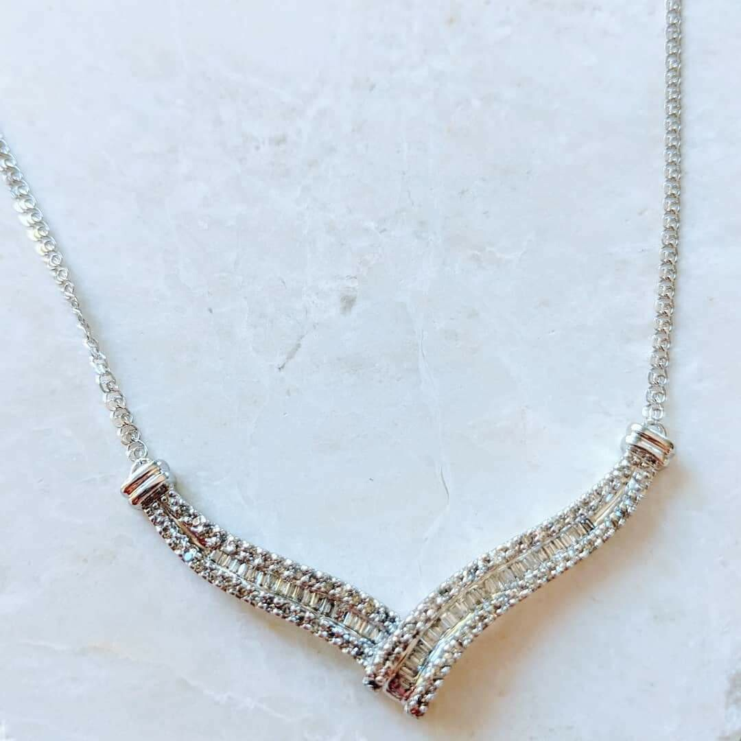 1 Carat Total Natural Diamond Necklace 14k White Gold