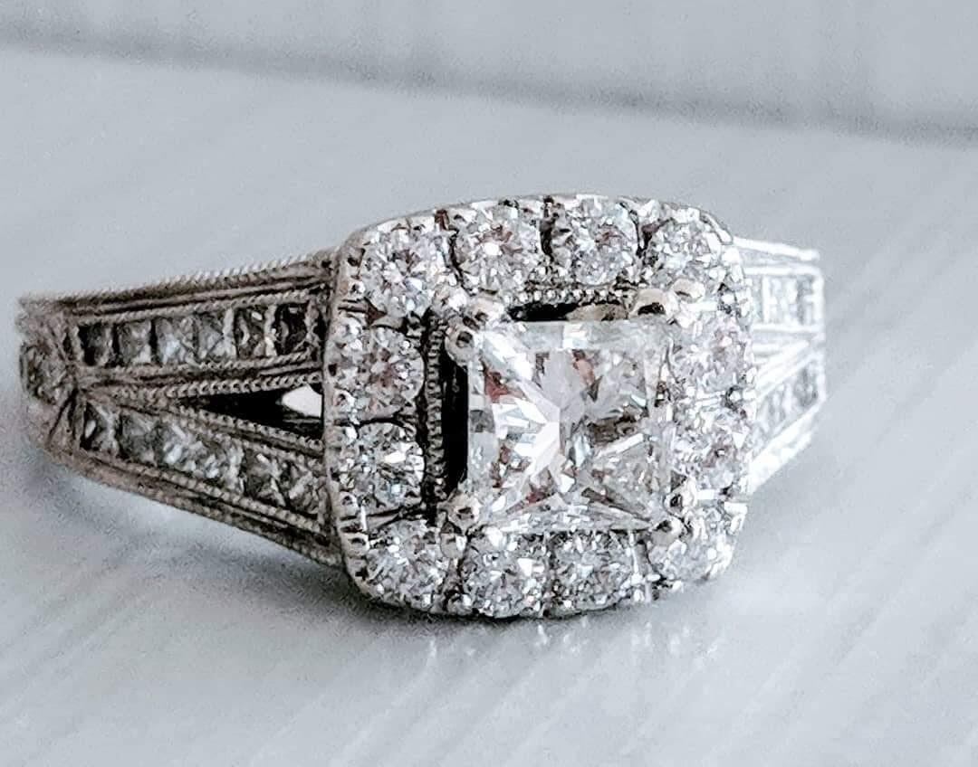 1.88 Ct Total Neil Lane Diamond Engagement Ring, Sz 8