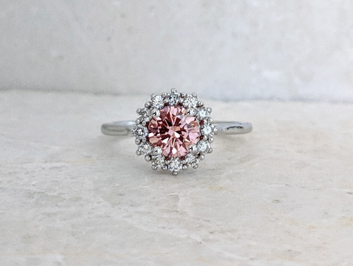 1.21 Carat Total (0.88 Ct Center) Pink Diamond Halo Ring, CVD, Sz 7