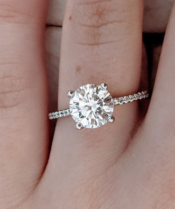 2 Carat Moissanite and Diamond Engagement Ring in 14k White Gold Sz 7