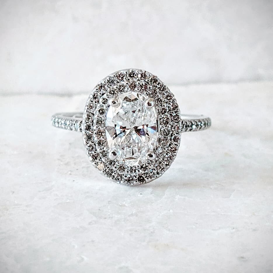 1.05 VS1, H Oval Diamond in Double Halo Ring CVD Sourced Sz 6.5