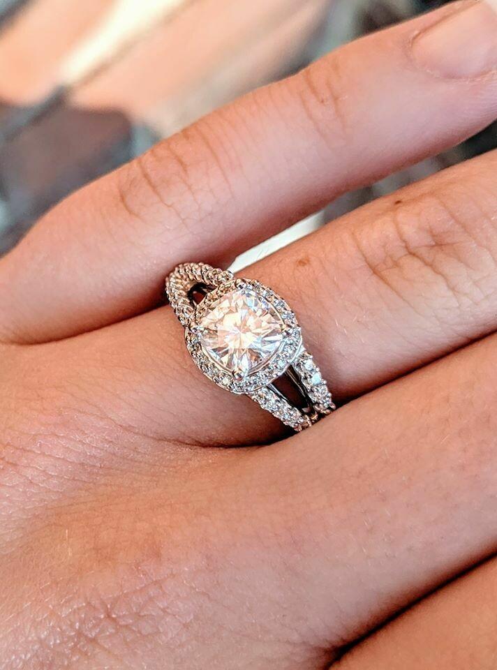 1.25 Carat Cushion Moissanite and Diamond Engagement Ring Sz 7.25