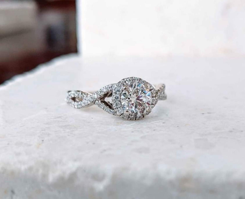 0.90 Ct Total Diamond Engagement Ring by Gabriel & Co 14k White Gold Sz 5.25