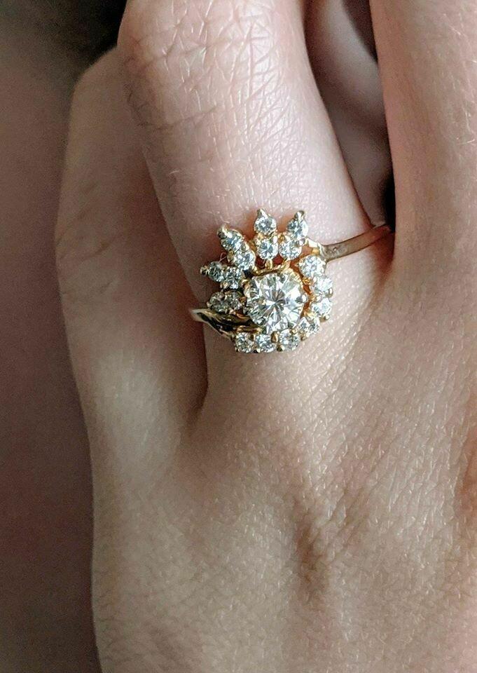 0.70 ct Total Vintage Natural Diamond Engagement Ring Sunburst Style Yellow Gold