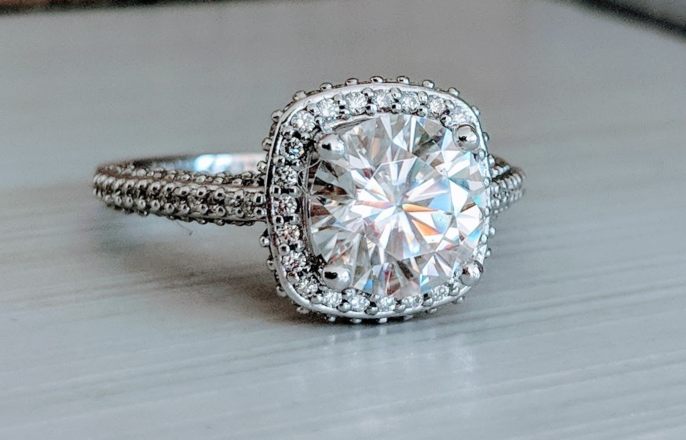 14k White Gold 5/8 ct Diamond Tiffany-Inspired Setting with 2 Carat G/H Color Moissanite, Sz 7