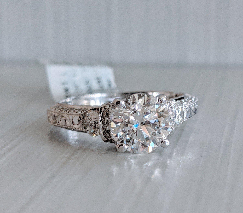 2.07 Ct Total (1.50 ct certified diamond center!) 19k White Gold Daviani Designer Ring Sz 6.5