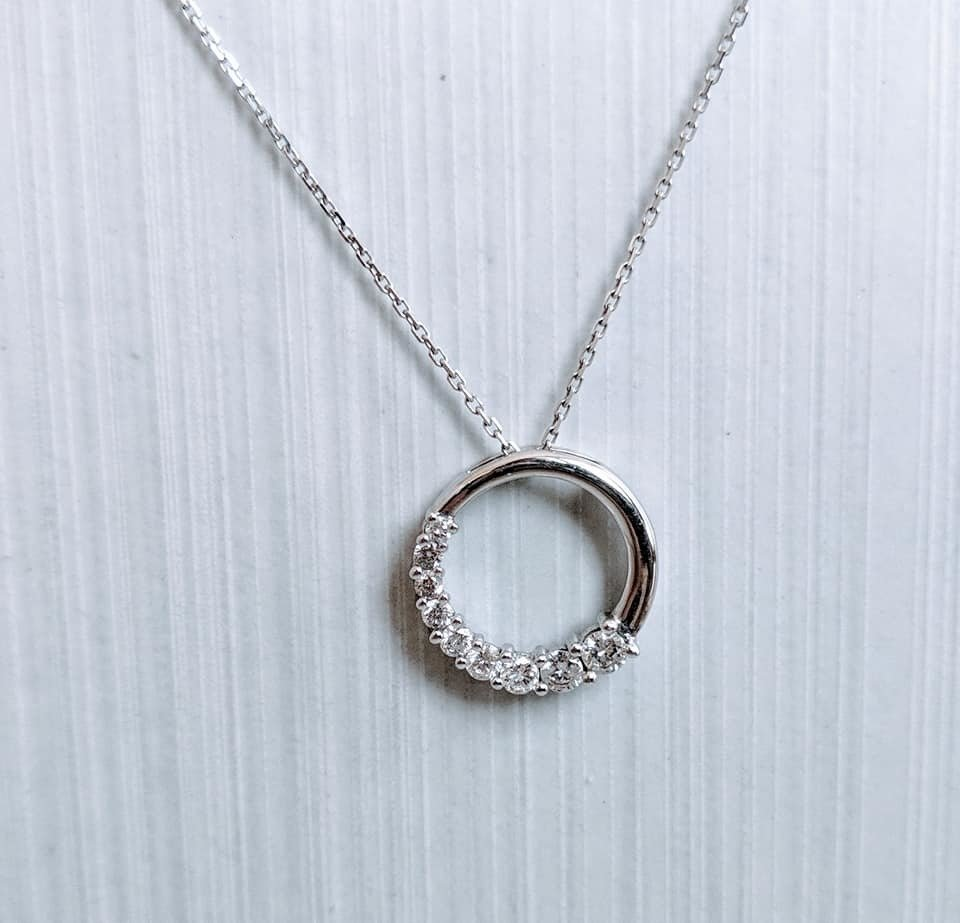 0.65 Ct Diamond Journey Circle Pendant in 14k White Gold