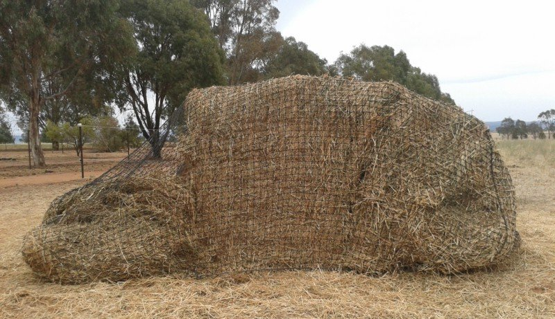 Partially eaten GutzBusta Slow Feed Hay Net for Large Square Export Bale
