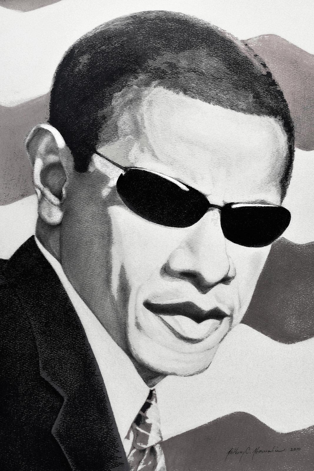 Black and White Obama Portrait 24x36 Black Frame Deposit Only 00004
