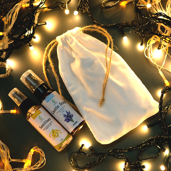 Holiday Sanitizer and Soap Bundle with Pouch