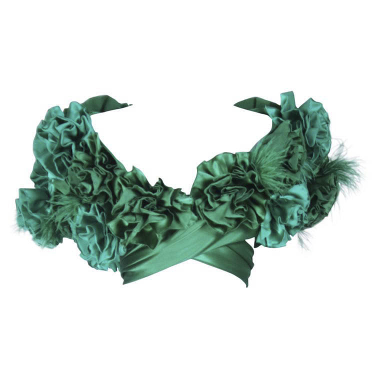 "ELIZABETH MASON COUTURE Made to Order Silk Green ""Rose"" Wrap with Feathers"