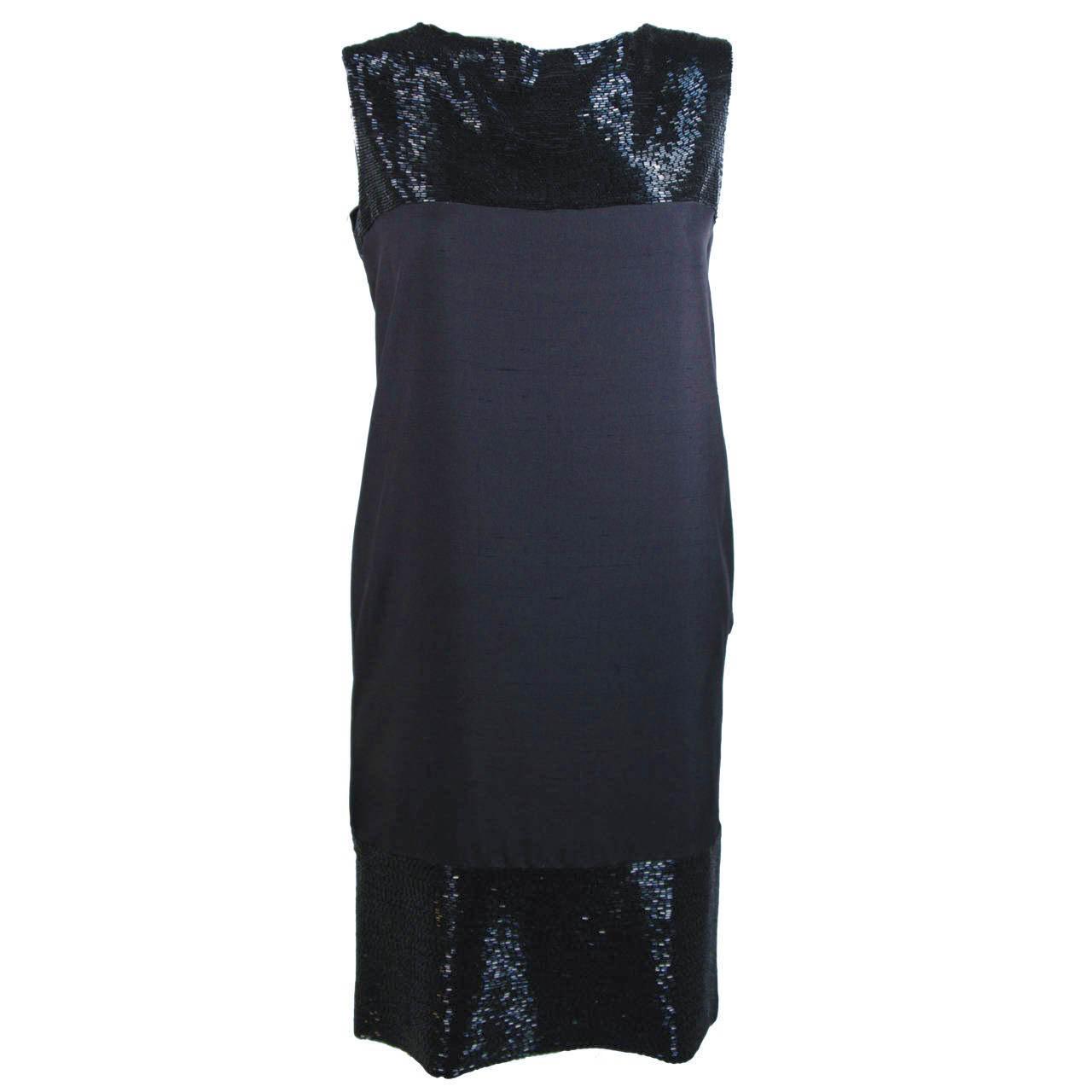 ELIZABETH MASON COUTURE Silk Beaded Cocktail Dress