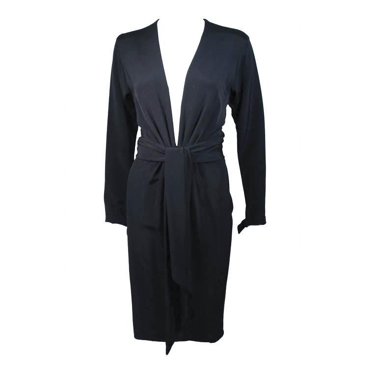 ELIZABETH MASON COUTURE Silk Plunge Cocktail Dress