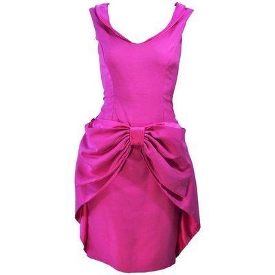 ELIZABETH MASON COUTURE Pink Magenta Bow Cocktail Dress