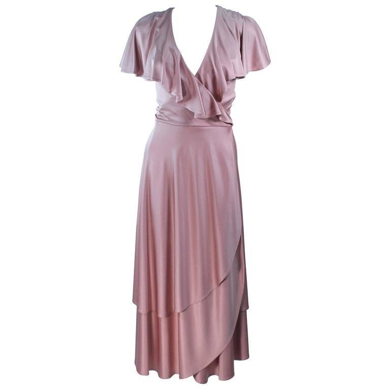 ELIZABETH MASON COUTURE Blush Silk Jersey Ruffled Cocktail Dress Made to Order