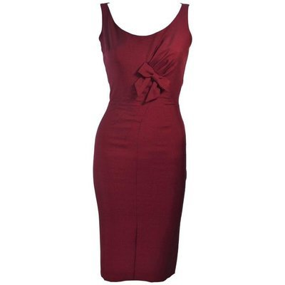 ELIZABETH MASON COUTURE Burgundy Silk Cocktail Dress with Bow Made to Order