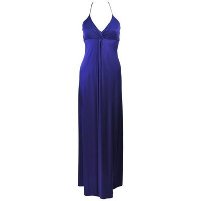 ELIZABETH MASON COUTURE Purple Silk Jersey Draped Halter Gown Made to Order