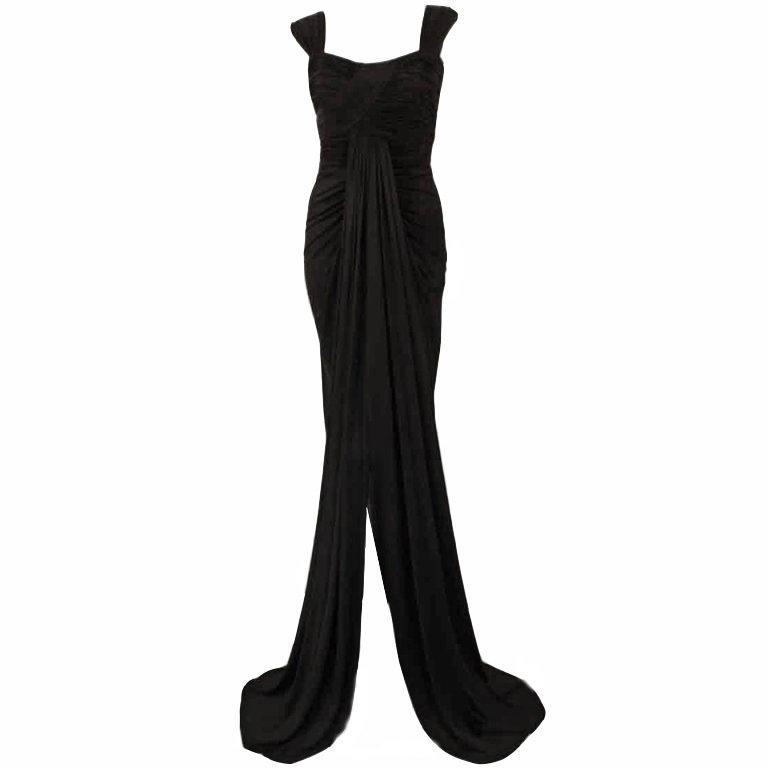 "Elizabeth Mason Couture Black Silk Jersey ""Uta"" Gown"