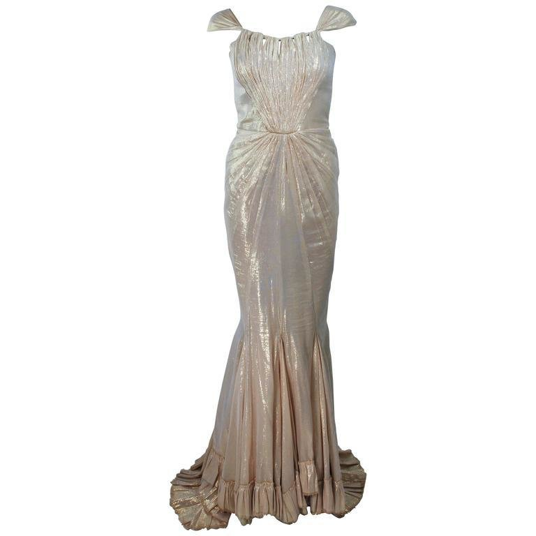 ELIZABETH MASON COUTURE 'Rachel' Made To Measure Silk Lame Gown