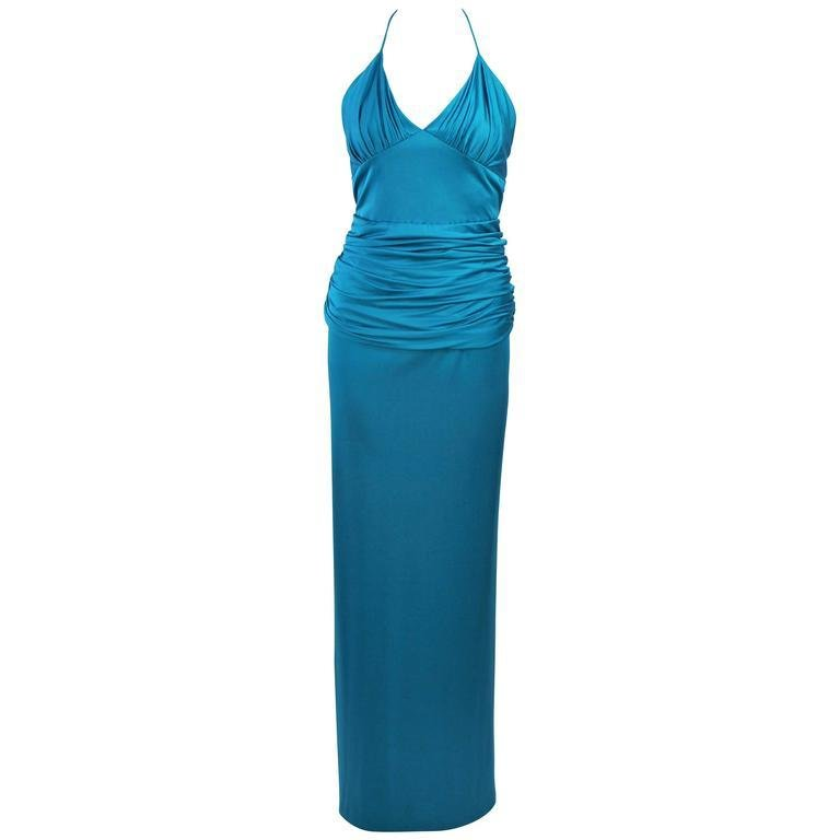 ELIZABETH MASON COUTURE Turquoise Silk Jersey Halter Gown