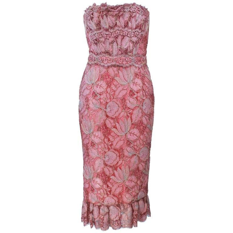 ELIZABETH MASON COUTURE Pink Metallic Lace Cocktail Dress