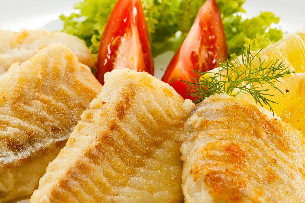 Fried Sea Bass & Roasted Vegetables