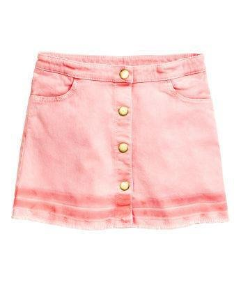 Washed out pink Button detail skirt