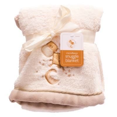 Cow and Moon Microfleece Blanket(peach with brown cow at the front)