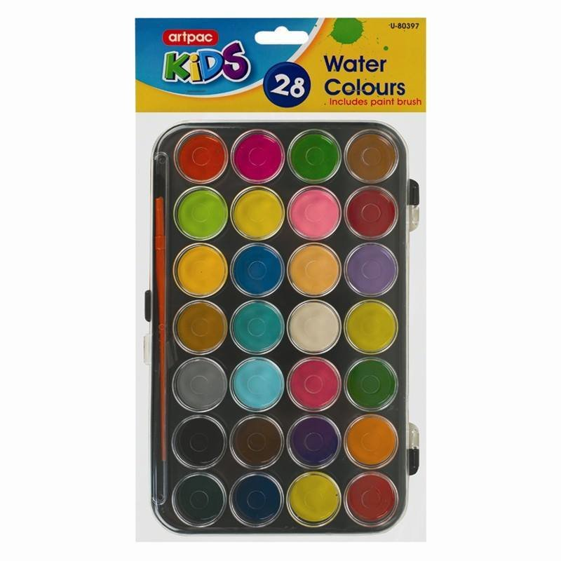 Spectrum Kids 28 Water Colours & Brush