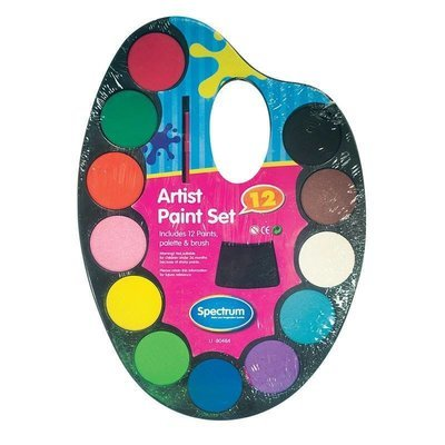 12 Water color paints and brush